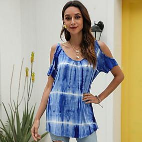 cheap Athleisure Wear-Women's T shirt Floral Flower Round Neck Tops Basic Top Blue