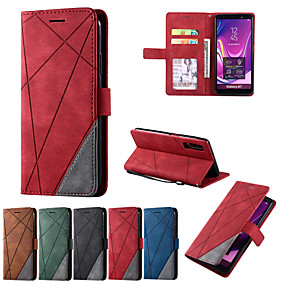 cheap Samsung Case-Case For Samsung Galaxy S7 A7 2018 A5 2017 A6 2018 A10 A10S A20 A20e A40 A51 A71 A81 A91  J3 J8 Shockproof  Flip Full Body Cases Lines  Solid Colored PU Leather
