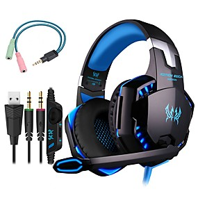 cheap Gaming Headsets-KOTION EACH G2000 Gaming Headset 7.1 Channel Sound Bass Headphones LED Microphone Inline Control Package with Headphone and Mic Adapter for PC Computer PS4 XBOX