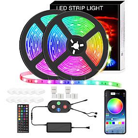 Недорогие Управление через приложение-5050 светодиодных лент 10 м smart rgb светодиодная световая полоса синхронизация музыки 600 светодиодов изменение цвета световые полосы управление приложением bluetooth с пультом дистанционного