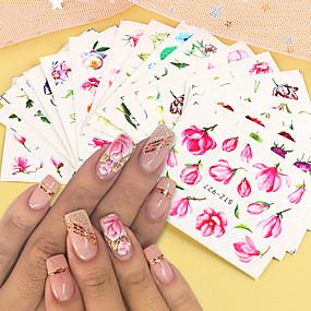 voordelige Nagelkunst-24 vellen nagelstickers nail art water transfer stickers sexy plakkaat met kleurrijke bloemen van rozen voor diy nail art decoraties