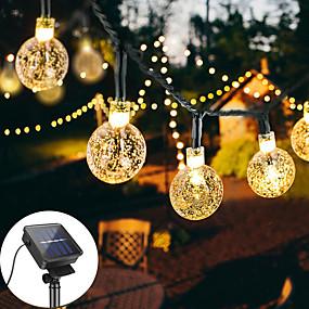 povoljno Svjetlosne trake i žice-12m 100led solarno vodio svjetlo string kristalna kugla balon svjetiljka baterijska svjetla 8 funkcija vanjski vodootporan za vjenčanje vrt travnjak božićni ukras solarna svjetiljka