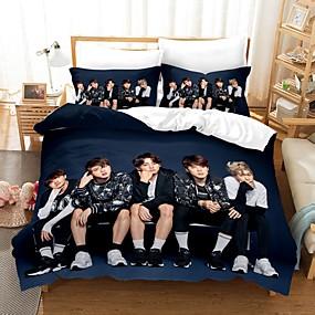 cheap Bedding Sets-BTS Home Textiles 3D Bedding Set Duvet Cover with Pillowcase 2/3pcs Bedroom Duvet Cover Sets  Bedding BTS