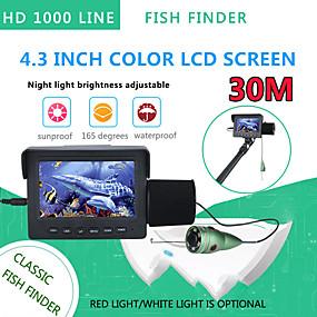 billige Overvåkningskameraer-30m 1200tvl fish finder undervannsfiskekamera 4,3 tommers skjerm 6stk 6w ir led night vision camera for fishing