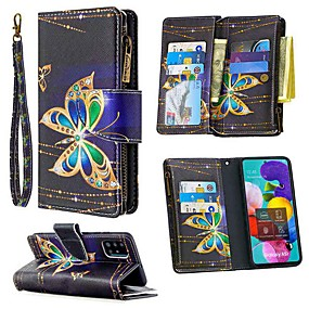 cheap Samsung Case-Case For Samsung Galaxy A51 A71 A70E A11 A21 A01 Note 10 Plus Wallet  Card Holder with Stand Full Body Cases Butterfly PU Leather For Galaxy M11 A31 A41 A81 A91 A30S A50S