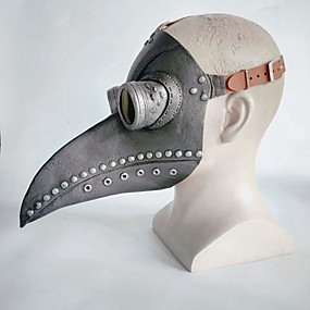 cheap Cosplay Costumes-Latex Mask Inspired by Plague Doctor Dark Gray Brown Steampunk Halloween Halloween Teen Adults' Men's Women's