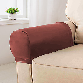 cheap Slipcovers-Elastic PU Leather Waterproof Stretch Armrest Covers Anti-Slip Furniture Protector Armchair Slipcovers 1 Set of 2
