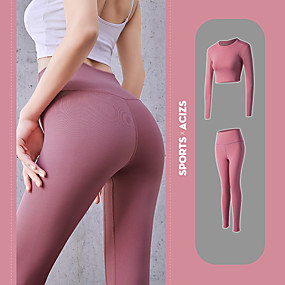 cheap Running & Jogging-Women's 2 Piece Activewear Set Workout Outfits Athletic Athleisure 2pcs Winter Long Sleeve Quick Dry Lightweight Breathable Fitness Gym Workout Running Active Training Jogging Sportswear Gray long