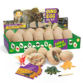 cheap Educational Toys-DIY Toys Dig Kit Game Dinosaur Egg Jurassic Dinosaur Creative STEAM Toy Fun Educational For Kid's Boys and Girls Party Gift 12 pcs