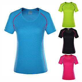 cheap Camping, Hiking & Backpacking-Wolfcavalry® Women's Hiking Tee shirt Short Sleeve Crew Neck Tee Tshirt Top Outdoor Quick Dry Breathable Stretchy Comfortable Spring Summer POLY Solid Color Black Fuchsia Light Blue Hunting Fishing