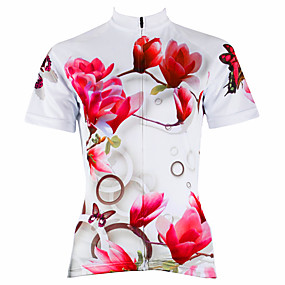 cheap Cycling & Motorcycling-21Grams Women's Short Sleeve Cycling Jersey Summer Polyester White Purple Yellow Floral Botanical Plus Size Bike Jersey Top Mountain Bike MTB Road Bike Cycling Ultraviolet Resistant Quick Dry