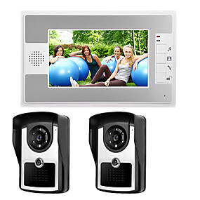 cheap Video Door Phone Systems-Wired 7 Inch Hands-free 800*480 Pixel Two To One Video Doorphone Intercom Infrared Night Vision Camera
