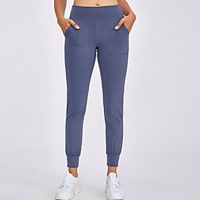 cheap Yoga & Fitness-Women's High Waist Yoga Pants Side Pockets Cropped Pants Tummy Control 4 Way Stretch Moisture Wicking Black Purple Dusty Rose Nylon Spandex Non See-through Fitness Gym Workout Running Winter Sports