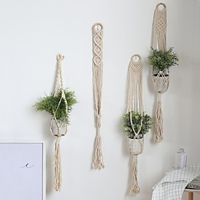 cheap Dreamcatcher-Macrame Wall Gift Hanging Bohemian Handmade Woven Art Decor Home Living Room Dorm Decoration Plant Hanger Basket Handmade Rope Pots Holder Fine Hemp Rope Net Flower Pot Plant Lanyard