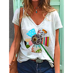 cheap Athleisure Wear-Women's T shirt Rainbow Print V Neck Basic Tops Cotton White
