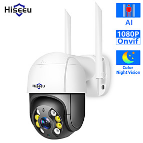 cheap Indoor IP Network Cameras-Hiseeu WHD812B 1080P Full-color Night Vision IP Camera Speed Dome WIFI Camera 2MP Outdoor Wireless 4x Digital Zoom PTZ Security Camera Cloud-SD Slot 2-Way Audio Network CCTV Surveillance