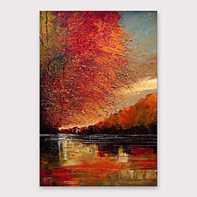 cheap Abstract Paintings-IARTS Hand Painted Shadow Sea red Oil Painting with Stretched Frame For Home Decoration With Stretched Frame
