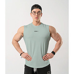 cheap Yoga & Fitness-Men's Sleeveless Running Tank Top Singlet Top Athleisure Summer Cotton Breathable Soft Sweat Out Fitness Gym Workout Performance Running Training Sportswear White Black Yellow Pink Fruit Green Gray