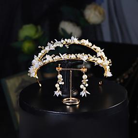 abordables Bijoux de Mariage-Doux Cristal / Imitation de perle / Alliage Bandeaux / costumes avec Perle fausse / Cristal / strass / Fleur 1 Pièce Mariage / Usage quotidien Casque