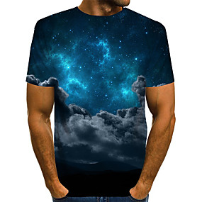 cheap Athleisure Wear-Men's T shirt Galaxy Graphic Plus Size Print Short Sleeve Daily Tops Basic Exaggerated Rainbow