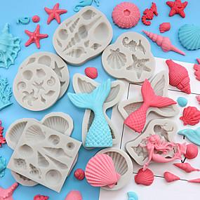billige Bakeformer-havet hav tema silikon mold kake dekorasjon slå sukker havfrue fisk hale skall havet stjerne sjokolade slipp lim mold