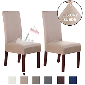 cheap Slipcovers-Suede Dining Room Chair Covers Dining Chair Slipcover Parsons Chair Slipcover Water Proof Chair Covers for Dining Room Set of 2, Soft Stretch Removable High Back Chair Protector