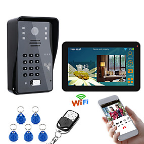 cheap Video Door Phone Systems-9 Inch Wired / Wireless Wifi RFID Password Video Door Phone Doorbell Intercom Entry System With IR-CUT 1000TVL Wired Camera Night VisionSupport Remote APP UnlockingRecordingSnapshot