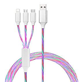 billige Smarte nyhetslys-6stk 2stk 1stk glød ledbelysning 3-i-1 hurtigladende usb type c kabel mikrolader kabelledning for iphone huawei samsung