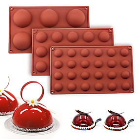 cheap Kitchen-Ball Sphere Silicone Mold For Cake Pastry Baking Chocolate Candy Fondant Bakeware Round Shape Dessert Mould DIY Decorating
