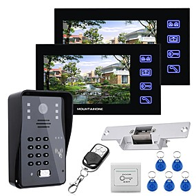 cheap Video Door Phone Systems-MOUNTAINONE 7 LCD Two Monitors  Video Door Phone Intercom System RFID Door Access Control Kit Outdoor Camera Electric Strike LockWireless Remote Control
