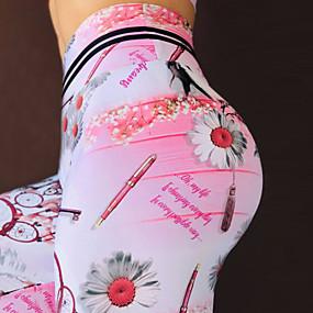 cheap Yoga & Fitness-Women's High Waist Yoga Pants Leggings Tummy Control Butt Lift Quick Dry Rainbow Fitness Gym Workout Running Winter Sports Activewear High Elasticity Skinny