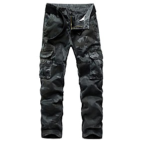 cheap Camping, Hiking & Backpacking-Men's Work Pants Hiking Cargo Pants Hiking Pants Trousers Military Camo Outdoor Standard Fit Ripstop Multi-Pockets Quick Dry Lightweight Cotton Pants / Trousers Cargo Pants Bottoms Dark Grey Army