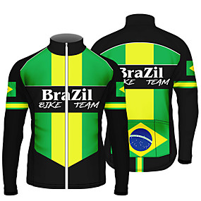 cheap Cycling & Motorcycling-21Grams Men's Long Sleeve Cycling Jersey Summer Spandex Polyester Green / Black Stripes Brazil National Flag Bike Jersey Top Mountain Bike MTB Road Bike Cycling UV Resistant Quick Dry Breathable
