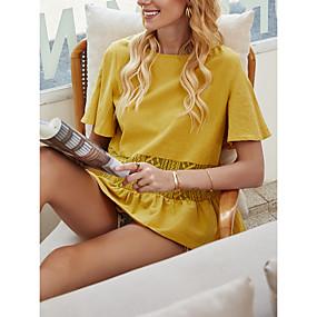 Χαμηλού Κόστους Women's Tops-Γυναικεία Μπλούζα Μονόχρωμο Πλισέ Patchwork Στρογγυλή Λαιμόκοψη Άριστος Βασική κορυφή Κίτρινο