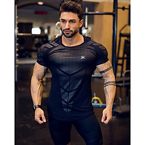 cheap Running & Jogging-Men's Short Sleeve Workout Tops Running Shirt Tee Tshirt Top Athleisure Summer Breathable Soft Sweat Out Fitness Gym Workout Performance Running Training Sportswear Normal White Black Blue Dark Gray