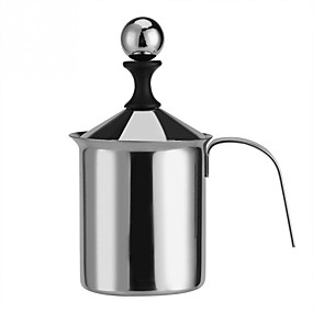 cheap Coffee and Tea-400 ml Manual Milk Frother Stainless Steel Milk Foamer with Filter  for Milk Coffee Cappuccino and Latte