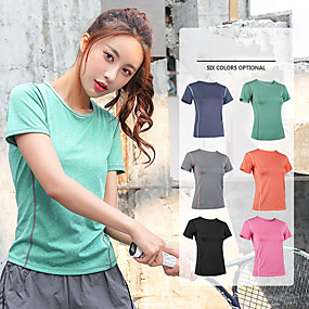 cheap Exercise, Fitness & Yoga-Women's Workout Tops Running Shirt Tee Tshirt Top Athleisure Breathable Quick Dry Soft Fitness Gym Workout Running Jogging Sportswear Black Fuchsia Orange Light Grey Green Dark Navy Activewear