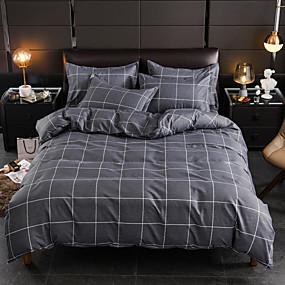 cheap Bedding Sets-Grey Plaid Print Brushed Microfiber Duvet Cover Set Lightweight Reversible Zipper Closure Soft 4Pcs Set(1 Duvet Cover 1 Bed Sheet 2 Pillow Shams)