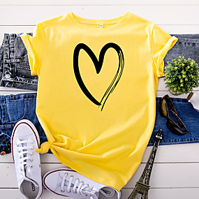 cheap Athleisure Wear-Women's T shirt Butterfly Abstract Print Round Neck Basic Tops 100% Cotton White Yellow Blushing Pink