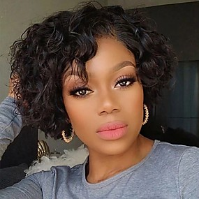 abordables Curly Lace Wigs-Peluca Pelo Natural Remy Encaje Frontal Cabello Brasileño Rizado Natural Corte Pixie Mujer Densidad 180% Corta Negro Natural Pelucas de Cabello Natural