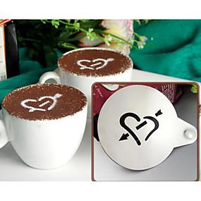 povoljno Aparati za kavu-posebni kalup za tiskanje od nehrđajućeg čelika za maštovitu kavu, sprej za kavu, kalup za crtanje, šuplji predložak