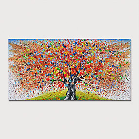 cheap Floral/Botanical Paintings-Hand Painted Canvas Oilpainting Abstract Tree by Knife Home Decoration with Frame Painting Ready to Hang With Stretched Frame