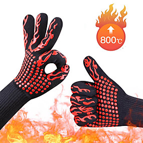 cheap Kitchen-Oven Mitts Gloves Hand Bakewere BBQ Silicon Gloves 2pairs High Temperature Anti-scalding 500-800 Degree Heat Resistant Oven Gloves Insulation Barbecue Microwave Flexible Soft 1pair