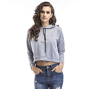 cheap Athleisure Wear-Women's Hoodie Crop Top Minimalist Hoodie Solid Color Cute Sport Athleisure Hoodie Long Sleeve Breathable Warm Soft Comfortable Everyday Use Causal Exercising General Use / Winter