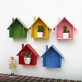Wall Shelves & Ledges-Houses Wall Decor Wooden European Wall Art, 19*9*24.5 cm Decoration