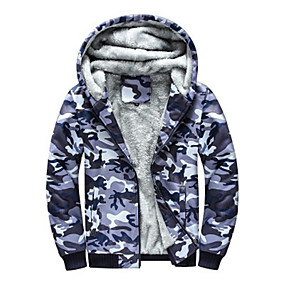 cheap Camping, Hiking & Backpacking-Men's Hoodie Jacket Hiking Jacket Hiking Fleece Jacket Winter Outdoor Camo / Camouflage Thermal Warm Windproof Fleece Lining Breathable Winter Jacket Top Full Zip Hunting Fishing Climbing Camouflage