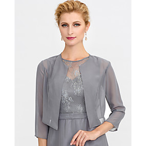 cheap New Arrivals-3/4 Length Sleeve Shrugs Chiffon Wedding / Party / Evening Women's Wrap With Solid