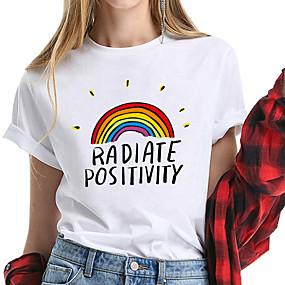 cheap Athleisure Wear-Women's T shirt Rainbow Printing Print Round Neck Basic Tops 100% Cotton White Yellow Blushing Pink