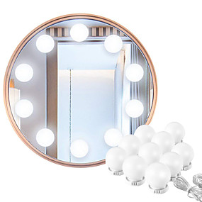cheap Vanity Lights-LED Makeup Mirror Vanity Light Bulbs Hollywood Style White Lighting LED Lamp Touch Switch USB Cosmetic Lighted String Rotating