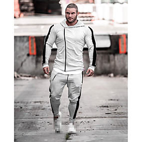 cheap Running & Jogging-Men's 2 Piece Tracksuit Sweatsuit Jogging Suit Street Casual 2pcs Winter Long Sleeve Cotton Breathable Soft Sweat Out Fitness Running Active Training Jogging Sportswear Dark Grey Black Light Grey